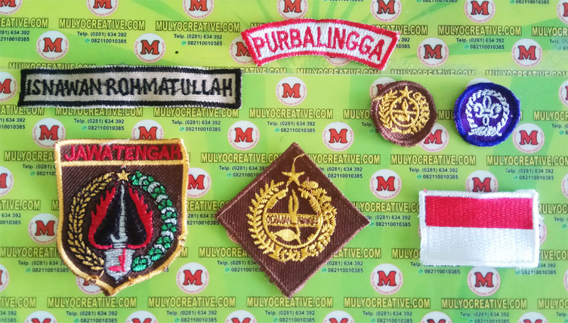bed pramuka, emblem pramuka, tanda pandu dunia, bordir propinsi, bordir nama id, dan bordir emblem pramuka lainnya